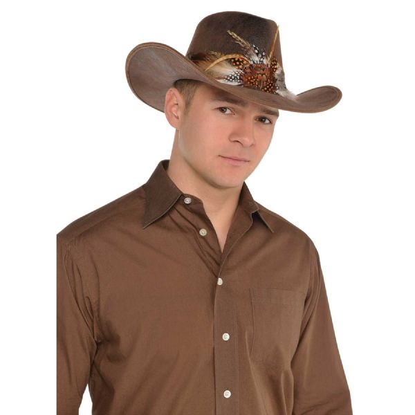Adults Deluxe Cowboy Hat Mens Fancy Dress Outfit Accessory